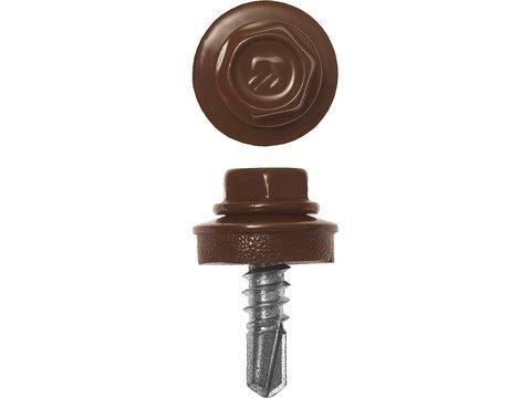 Саморезы СКМ кровельные, RAL 8017 шоколадно-коричневый, 25 х 5.5 мм, 420 шт, для металлических конструкций, ЗУБР Профессионал