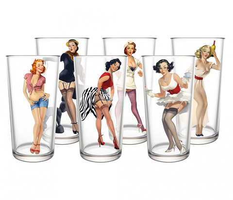 Набор стаканов 280 мл Pin-up girls, 6 шт
