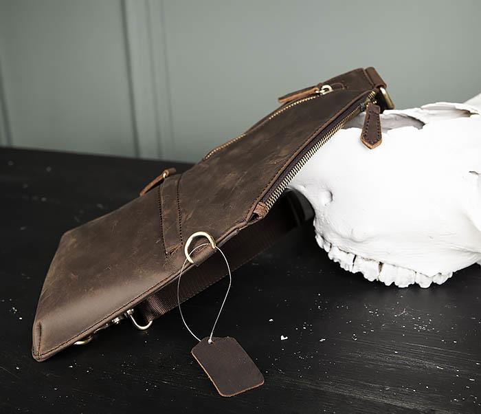 BAG472-2 Кожаная мужская сумка с одной лямкой фото 03
