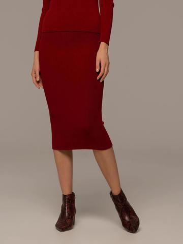 Женская юбка красного цвета из шерсти - фото 3