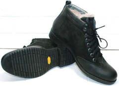 Мужские классические ботинки зимние черные Luciano Bellini 6057-58K Black Leathers & Nubuk.
