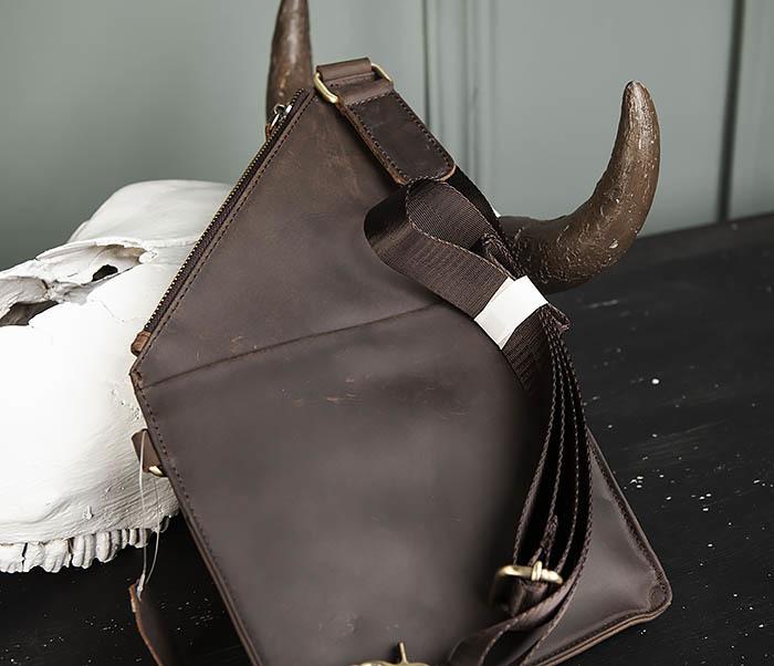 BAG472-2 Кожаная мужская сумка с одной лямкой фото 04