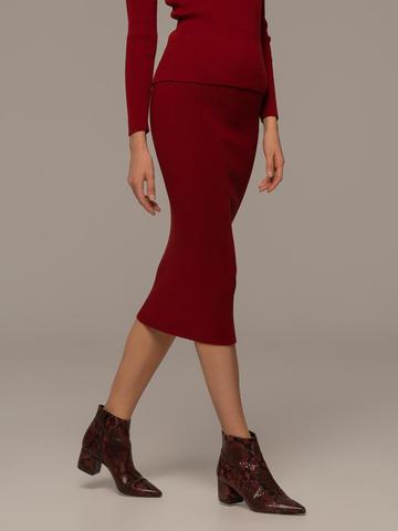 Женская юбка красного цвета из шерсти - фото 5