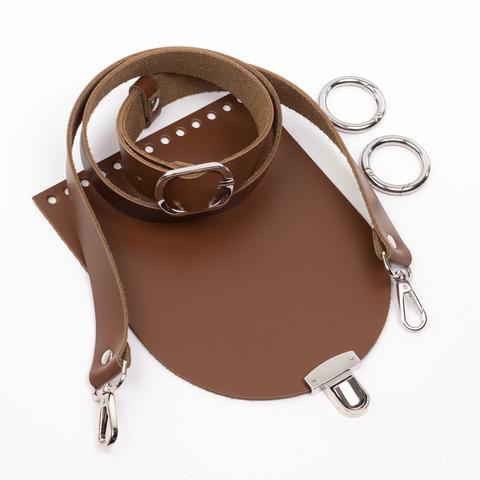 """Комплект для сумочки Орео """"Молочный шоколад"""". Ручка через плечо и замок """"N12"""""""