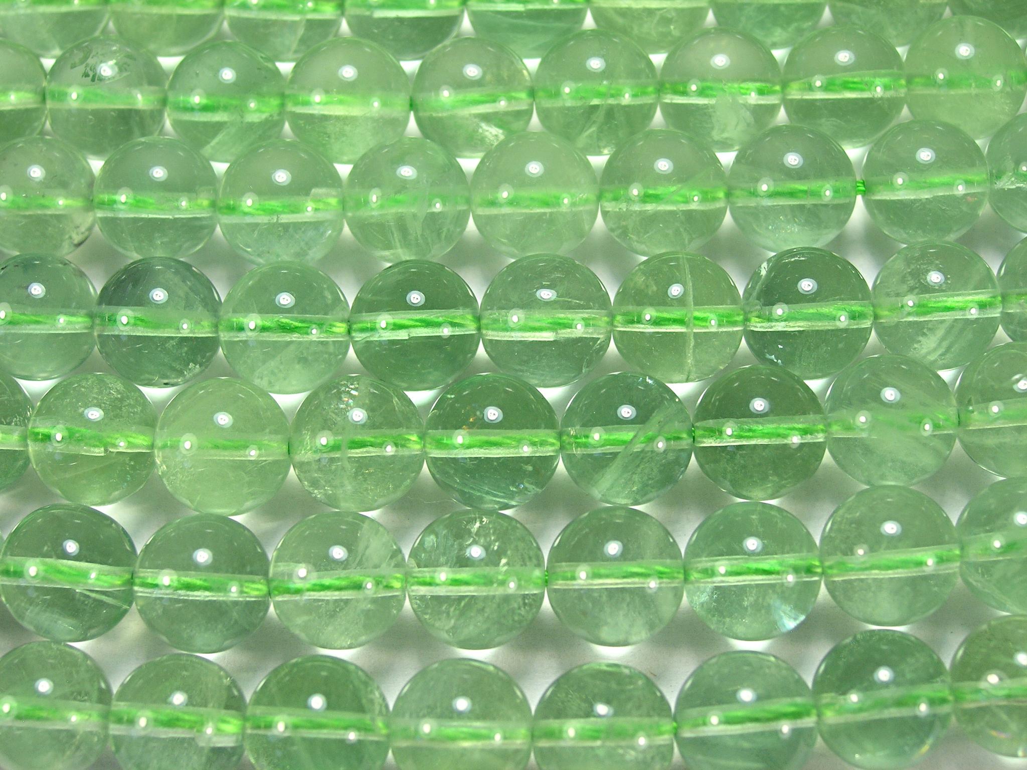 Нить бусин из флюорита зеленого, шар гладкий 10мм