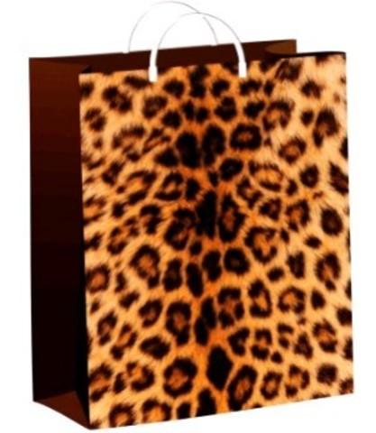 Подарочные пакеты 30х40+10 из мягкого пластика Леопард
