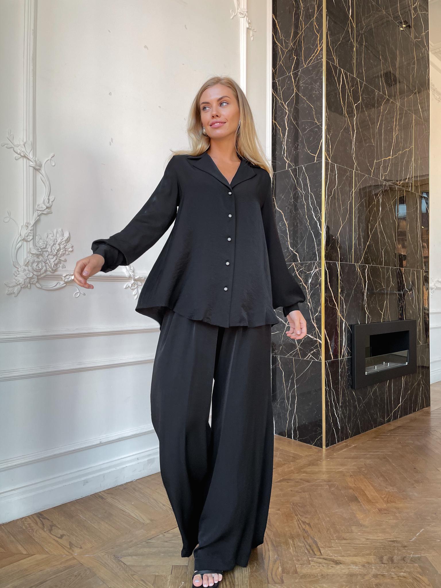 Пижамный костюм (рубашка+палаццо) (черный)
