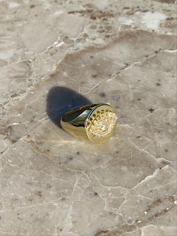 Кольцо-печатка Глаз из позолоченного серебра
