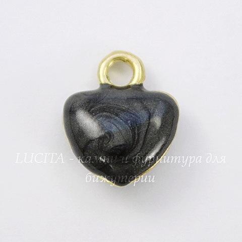 """Подвеска с эмалью """"Черное сердечко"""" 11х10 мм (цвет - золото)"""