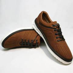 Дышащие кроссовки на лето мужские Vitto Men Shoes 1830 Brown White