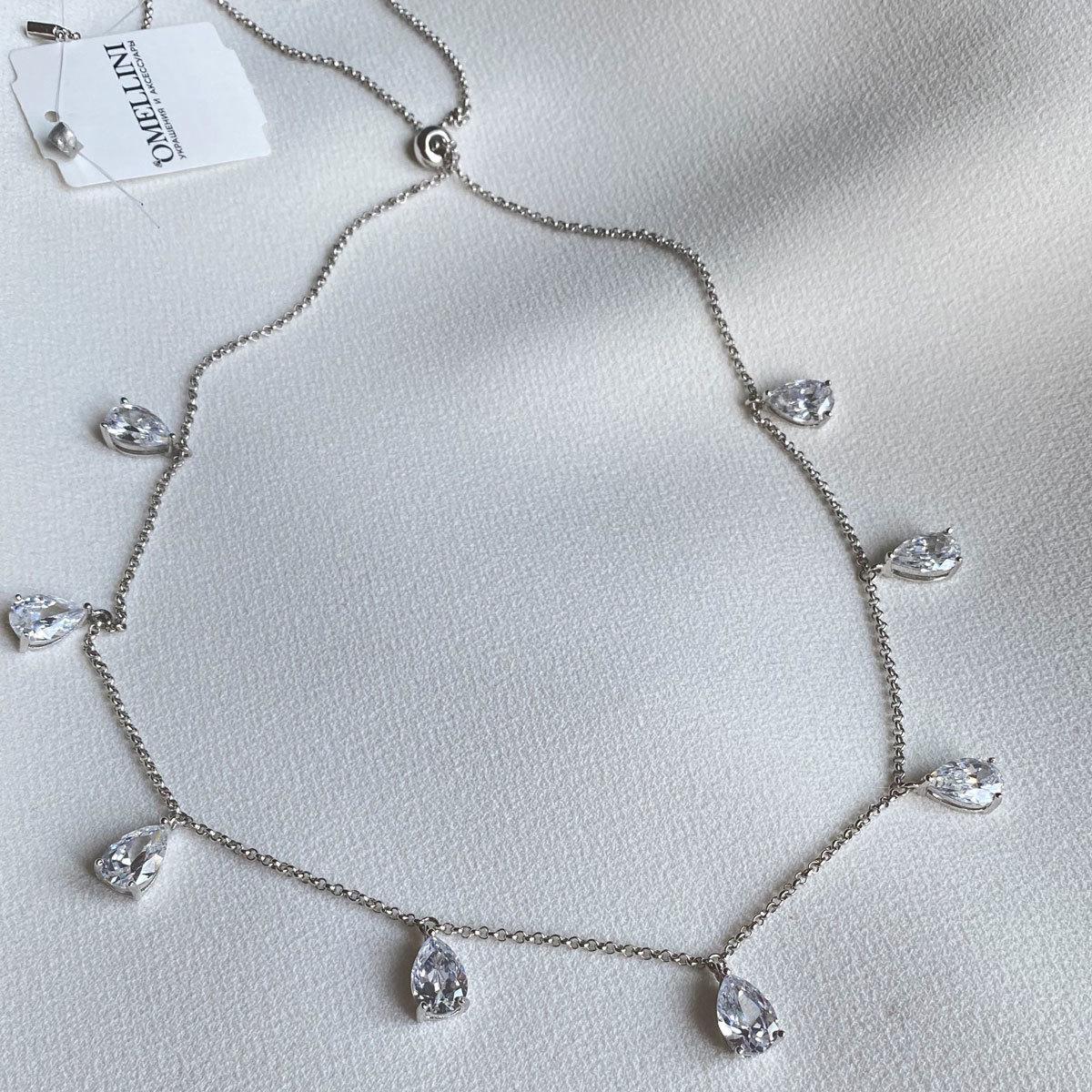 Колье-чокер на затяжке с подвесками-каплями (цирконы, серебро 925)