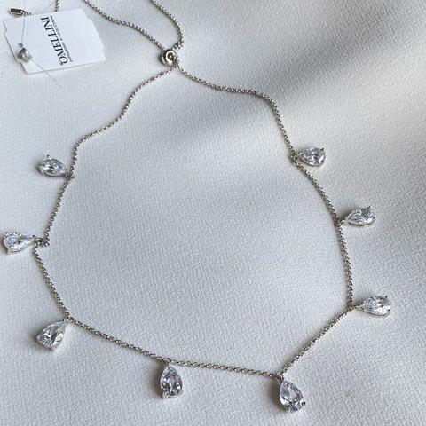 Колье-чокер на затяжке с подвесками-каплями (серебро 925)
