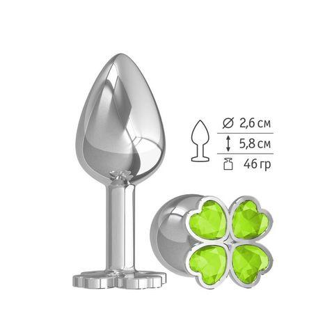 Анальная втулка малая Silver клевер с салатовым кристаллом