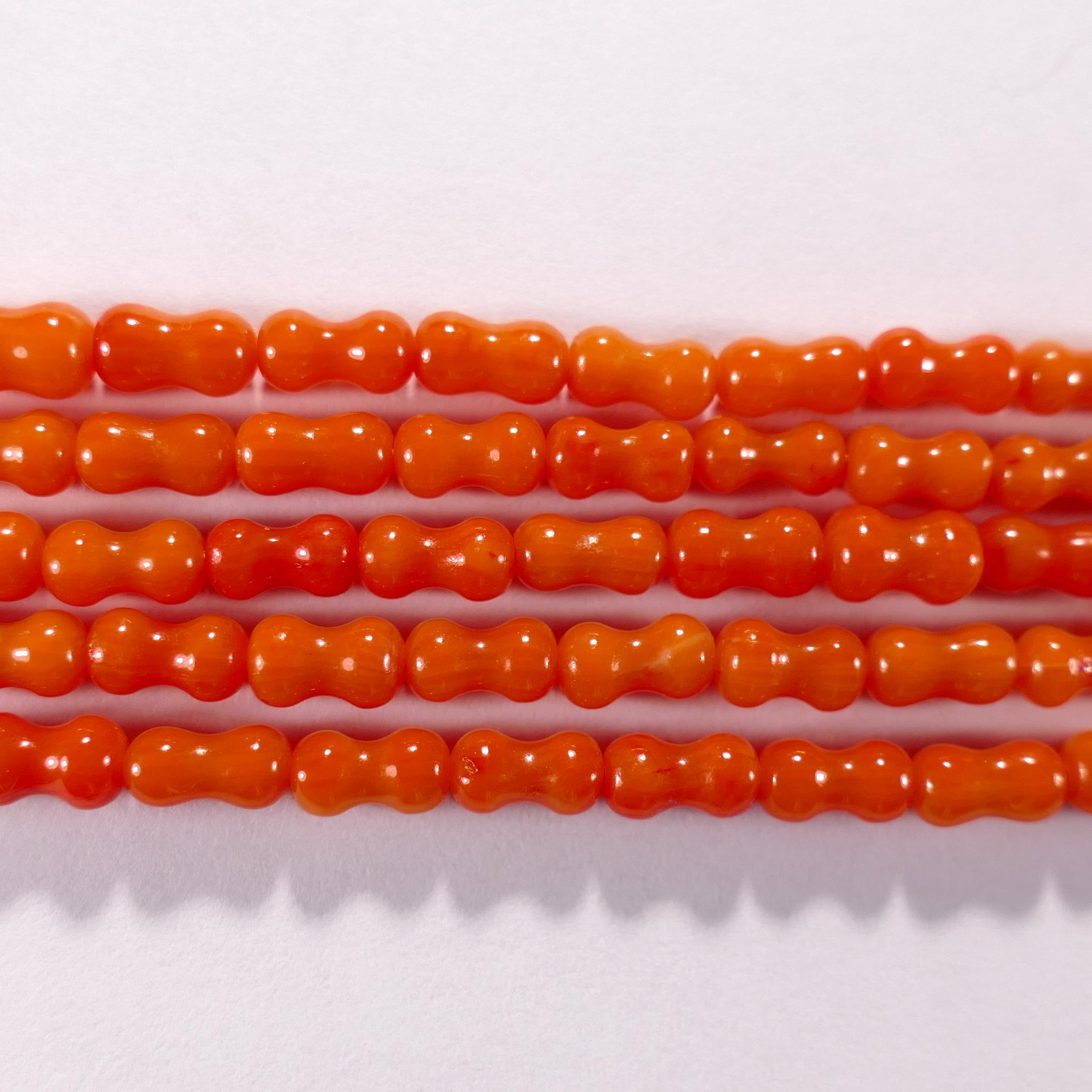 Нить бусин из коралла оранжевого, облагороженного, фигурные, 3x6 мм (цилиндр, гладкая)