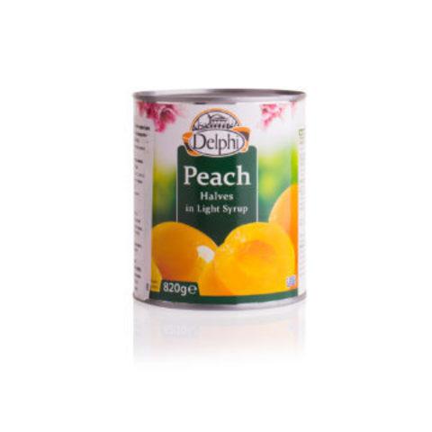 Половинки персика в сиропе DELPHI 820 гр железная банка