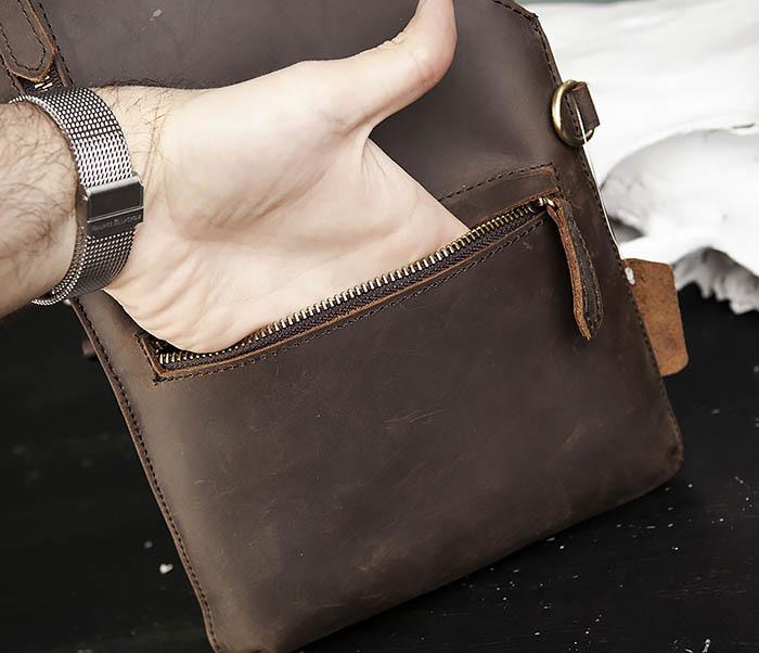 BAG472-2 Кожаная мужская сумка с одной лямкой фото 07