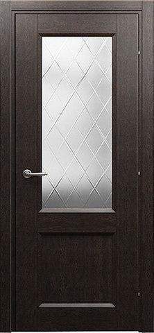 Дверь Краснодеревщик 3024, цвет чёрный дуб, остекленная