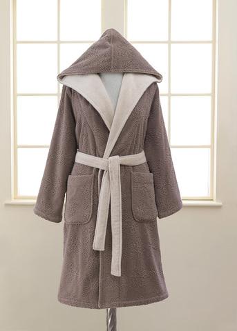 Женский махровый халат с капюшоном LEAF коричневый