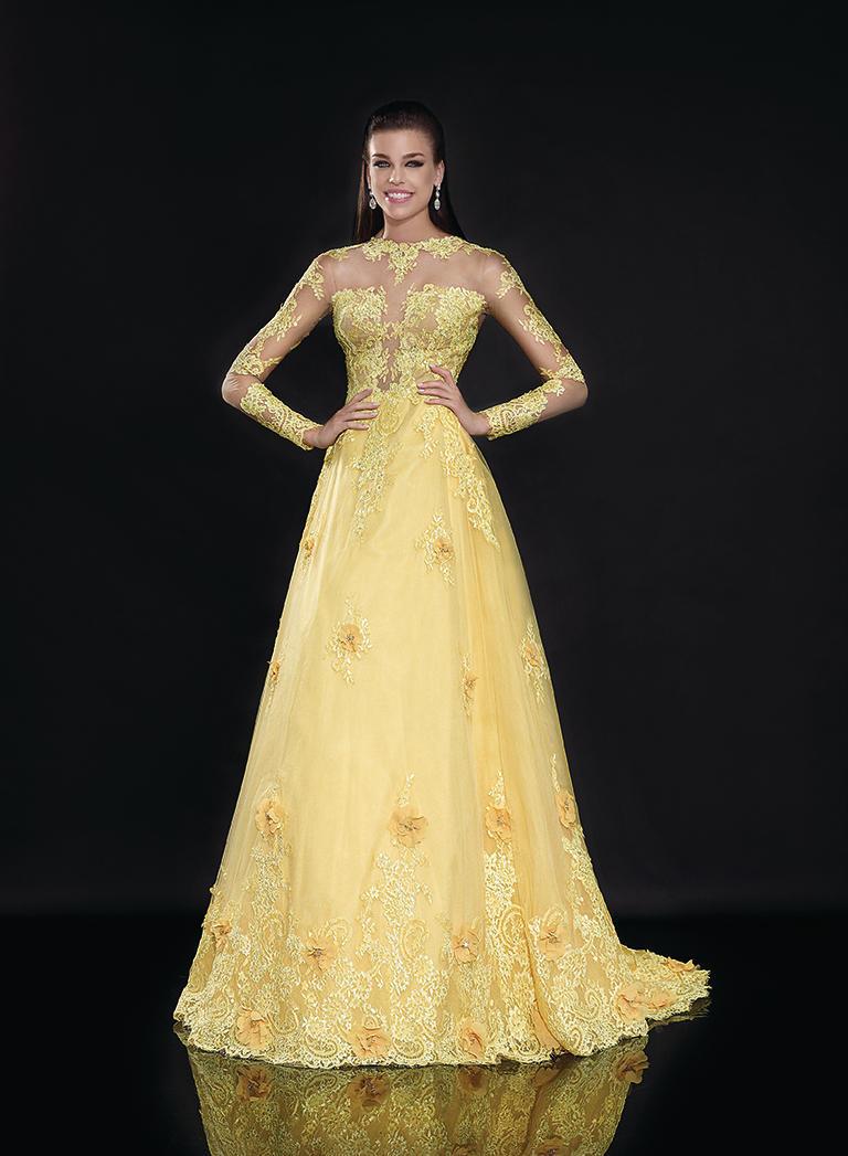 Пышное длинное платье в нежно-зеленом цвете Tarik Ediz 92540