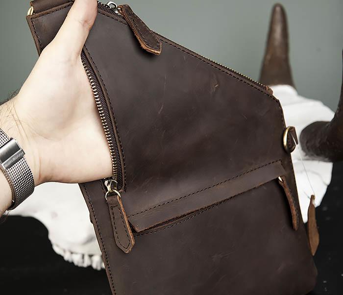 BAG472-2 Кожаная мужская сумка с одной лямкой фото 08