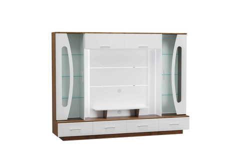 Стенка-шкаф многоцелевого назначения Вита 08.51 Моби орех селект каминный, белая аляска, белый глянец ПВХ