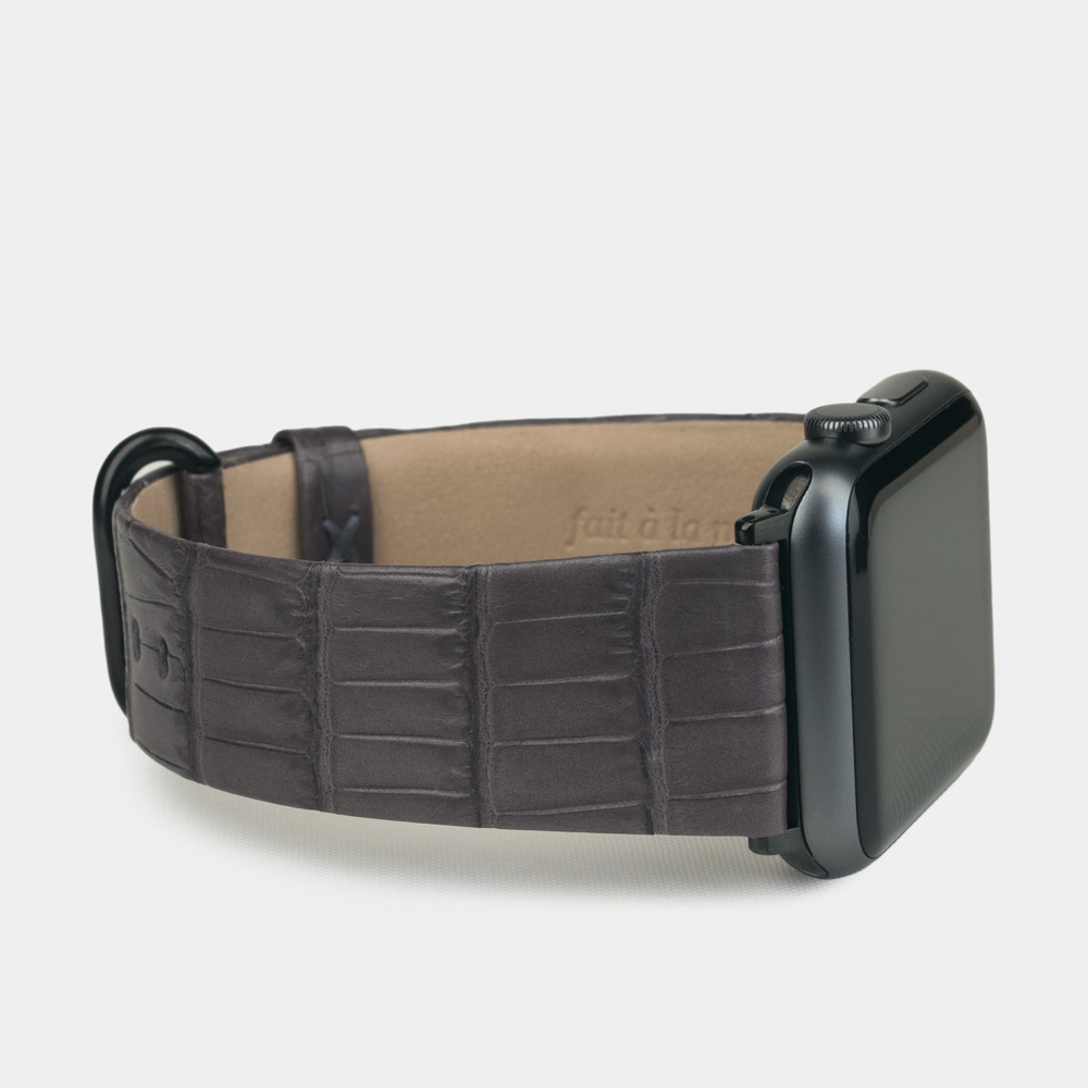 Ремешок для Apple Watch 38/40mm ST Classic из натуральной кожи крокодила, серого цвета