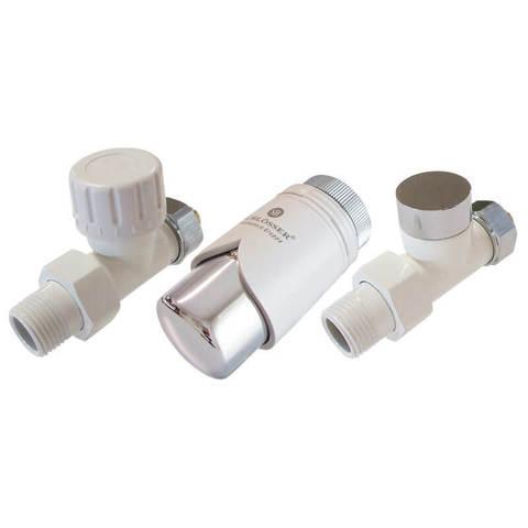 Комплект клапанов термостатических Форма Прямая, Элегант Белый - Хром. Для пластика GZ 1/2 х 16х2