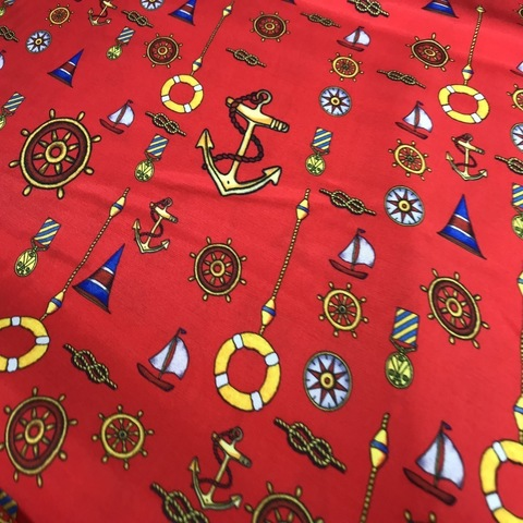 Ткань вискоза красная якоря 3115