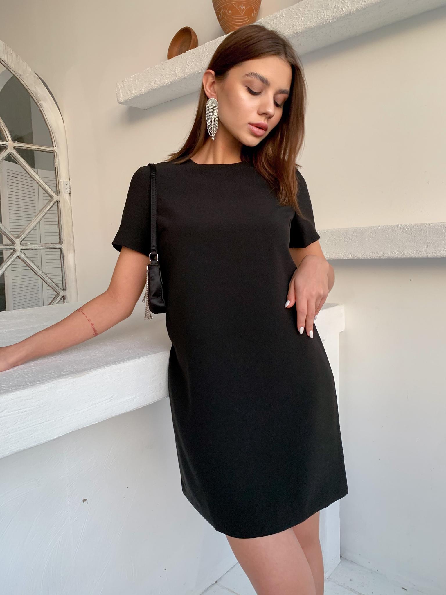 Прямое мини-платье с коротким рукавом (черный)
