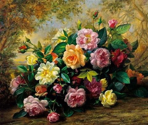 Картина раскраска по номерам 40x50 Разноцветный букет