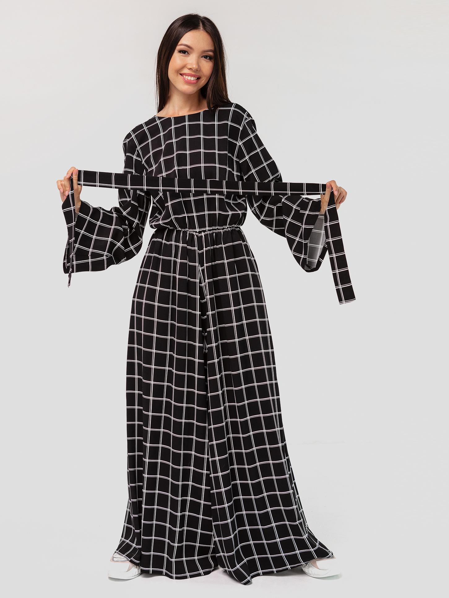 Комбинезон в клетку с открытой спинкой YOS от украинского бренда Your Own Style