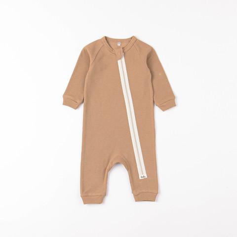 Ribbed pyjamas sleepsuit 0+, Desert Sand