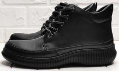 Женские термо ботинки из натуральной кожи Evromoda 535-2010 S.A. Black.