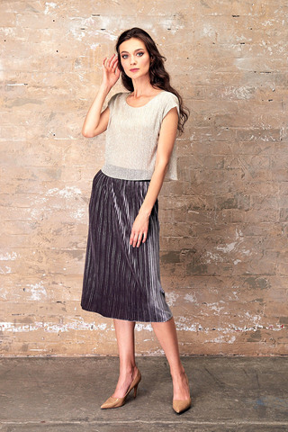 Фото юбка на резинке из плиссированной ткани длиною ниже колен - Юбка Б115-112 (1)