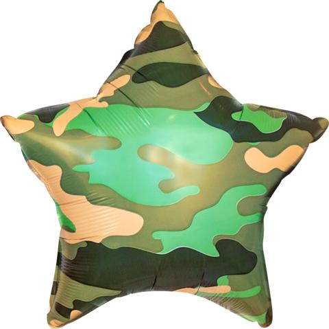 Фольгированный шар звезда Камуфляж зеленый