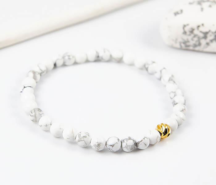BS763 Мужской белый браслет из натурального камня кахолонга