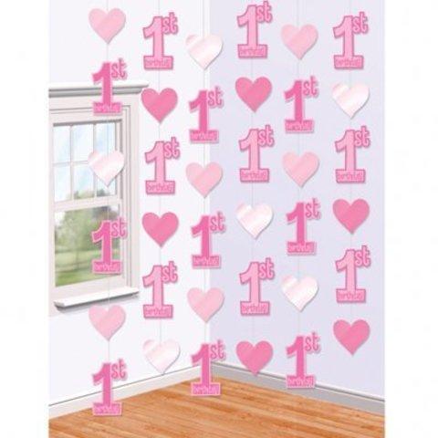 Гирлянда вертик 1-ый ДР Сердца розовые