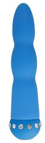 Голубой вибратор WAVY WAND со стразами - 14 см.