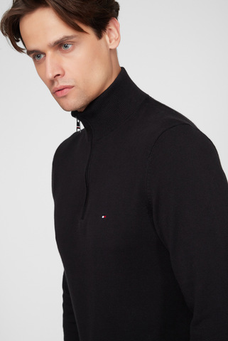 Мужская черная кофта PIMA COTTON CASHMERE ZIP MOCK Tommy Hilfiger
