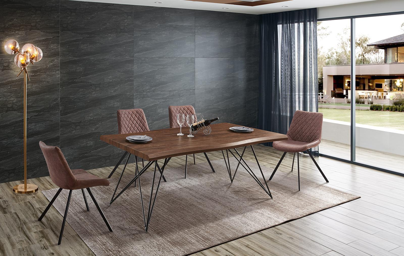 Стол T-1078 орех/матовый черный и стулья С-931 коричневые