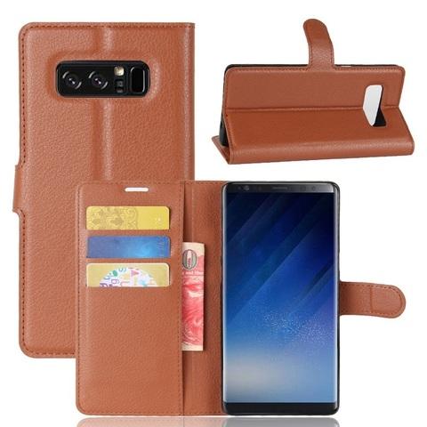 Чехол книжка коричневый цвета на Samsung Galaxy Note 8, с отсеком для карт и подставкой от Caseport