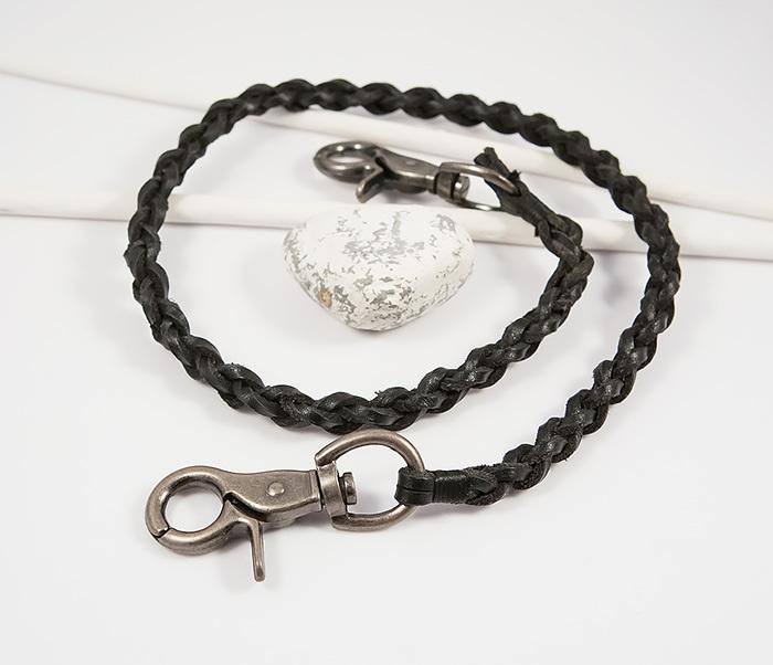 KR117-1 Оригинальный кожаный брелок шнур с карабинами (60 см) фото 02