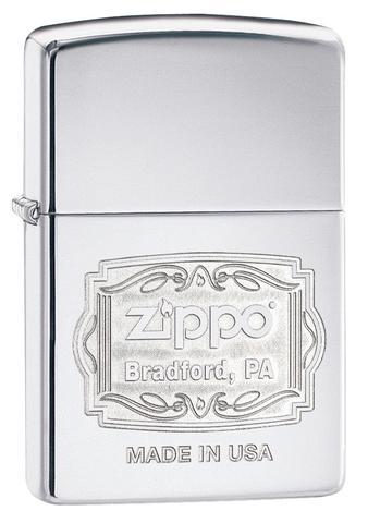 Зажигалка Zippo Classic с покрытием High Polish Chrome, латунь/сталь, серебристая, глянцевая, 36x12x