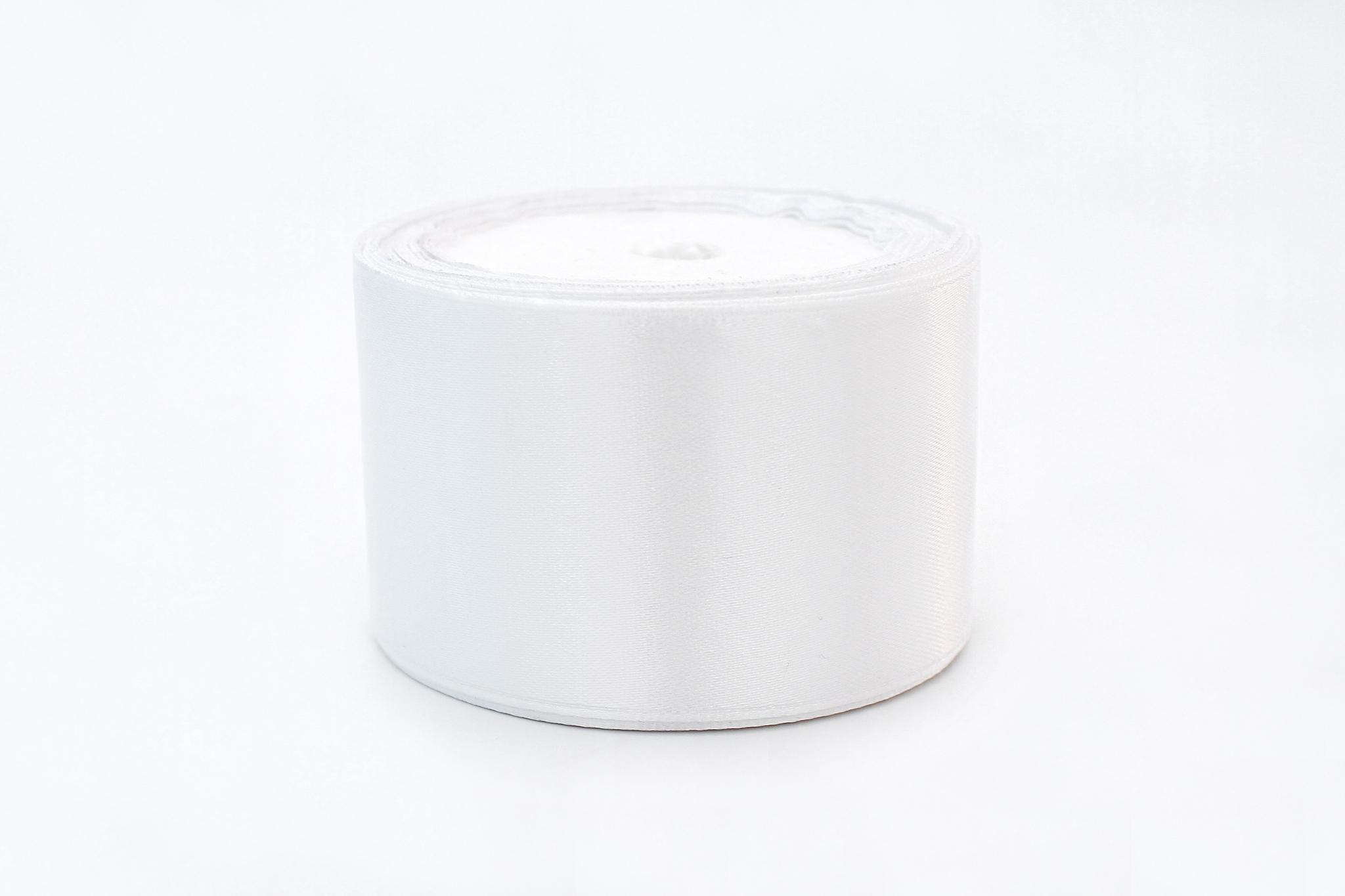 Лента атласная,7,5 см, белый