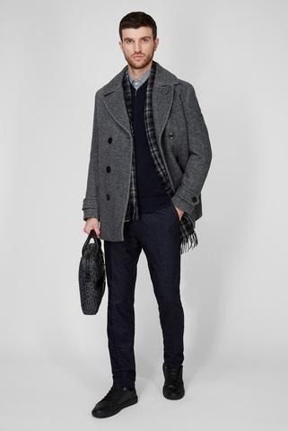 Мужское серое шерстяное пальто Tommy Hilfiger