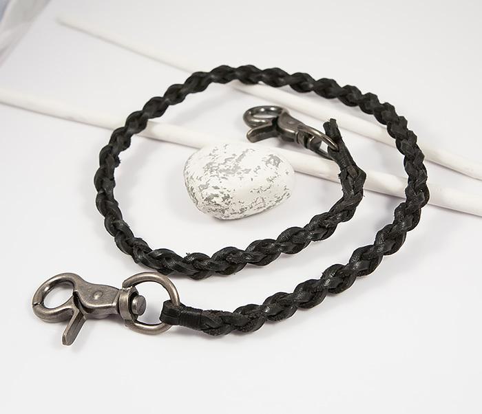 KR117-1 Оригинальный кожаный брелок шнур с карабинами (60 см) фото 03