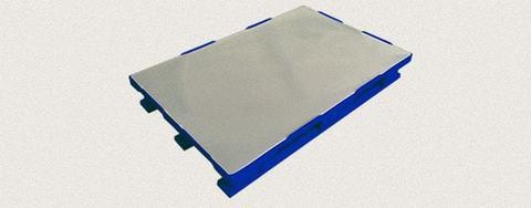 Поддон пластиковый сплошной 1200x800x160 мм с полозьями, усиленный металлическим профилем. Цвет: Синий