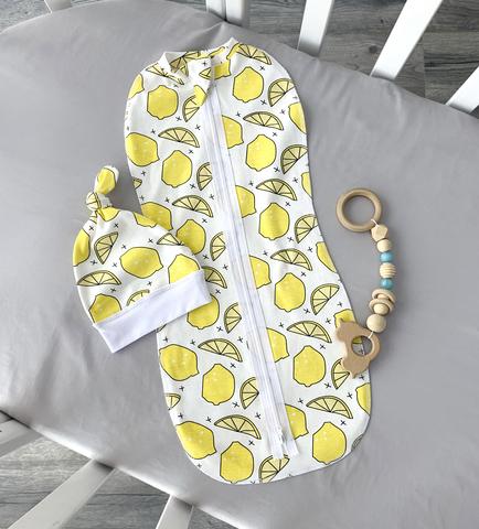 Пеленальный кокон и шапочка, лимоны (0-3мес.)