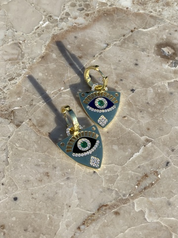 Серьги Гарди из позолоченного серебра с зеленым цирконом