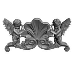 Силиконовый молд  № 1105 Ангелы с арфами мини